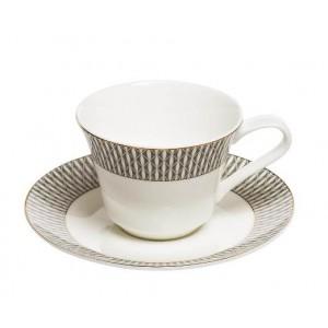 Чайная пара серый орнамент Garda Decor 25WIN SORRENTO CUP/S