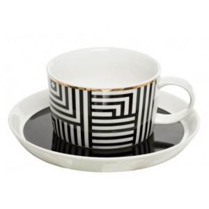 Чайная пара черно-белый орнамент Garda Decor 26FC VANITY CUPS 250BL