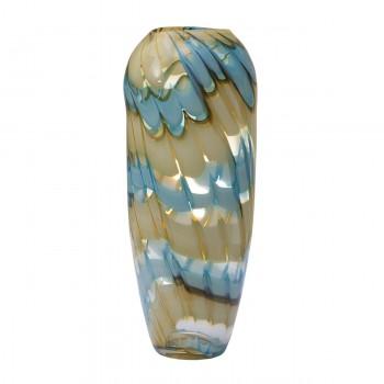 Ваза стеклянная (бело-синяя) HJ6037-36-F51