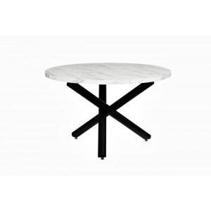 Стол обеденный круглый черно-белый 30F-911BL