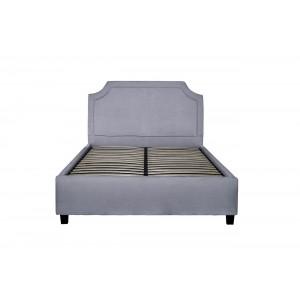 Кровать двуспальная светло-серая велюровая N-BS2011 GR