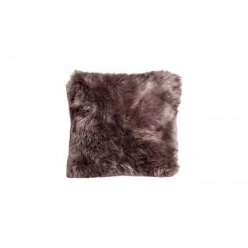 Подушка меховая серая односторонняя