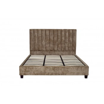 Кровать двуспальная бархатная бежевая N-B1743BG