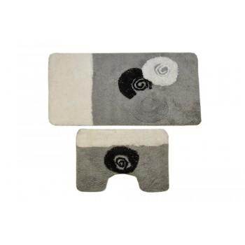 Комплект ковриков для ванной с серебряным люрексом 2 предмета PRIMANOVA D-15244 Alize