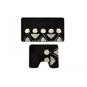 Комплект ковриков для ванной с серебряным люрексом 2 предмета PRIMANOVA D-15056 Martha (чёрный)