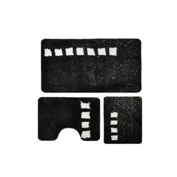 Комплект ковриков для ванной с серебряным люрексом 3 предмета PRIMANOVA D-14717 Roma (чёрный)