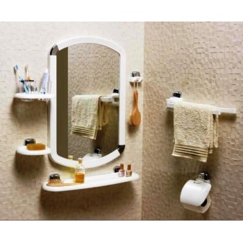 Набор аксессуаров для ванной с зеркалом Primanova M-024010 белый