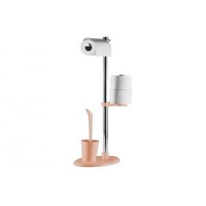 Стойка с ершиком и держателем для туалетной бумаги Primanova Alba M-E03-03 розовая