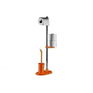 Стойка с ершиком и держателем для туалетной бумаги Primanova Alba M-E03-08 оранжевая