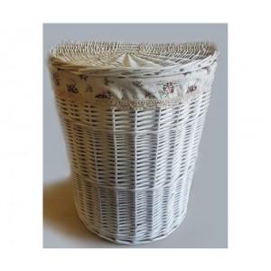 Корзина для белья в ванную плетеная полукруглая №2 KT04W S/10 белая малая