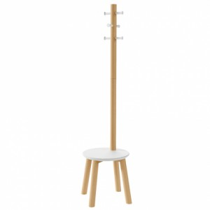 Вешалка-табурет Umbra Pillar 1014257-668 напольная белый-натуральное дерево