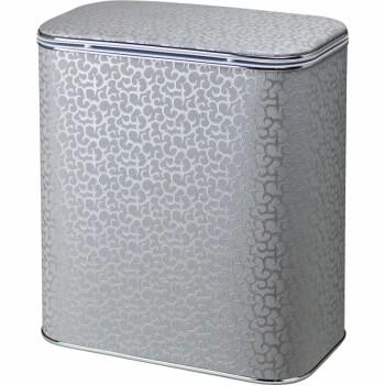 Корзина для белья Cameya Цветы FHH-B-9 с микролифтом большая Серебро, кант хром