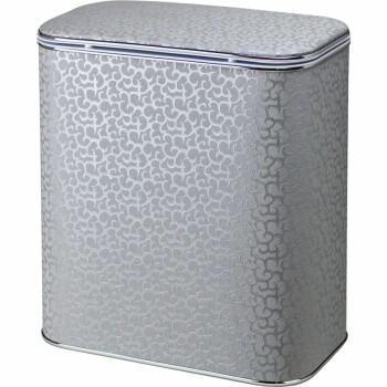 Корзина для белья Cameya Цветы FHH-M средняя Серебро, кант хром