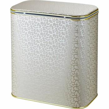 Корзина для белья Cameya Цветы FLG-B-9 с микролифтом большая Бежевая, кант золото