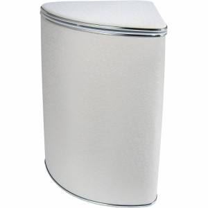 Корзина для белья Cameya Цветы Y-FWG-B большая угловая Белая, кант золото