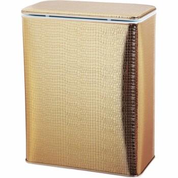 Корзина для белья Cameya Крокодил GKR-B-9 с микролифтом большая Золотая, кант золото