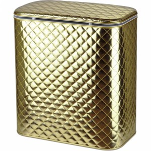 Корзина для белья Cameya Стеганая GAC-B-9 с микролифтом большая Золотая матовая, кант золото