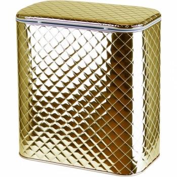Корзина для белья Cameya Стеганая GC-BG-9 с микролифтом глубокая Золотая, кант золото