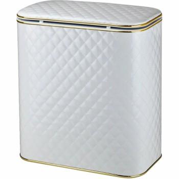 Корзина для белья Cameya Стеганая WGC-BG-9 с микролифтом глубокая Белая, кант золото