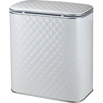 Корзина для белья Cameya Стеганая WHC-BG-9 с микролифтом глубокая Белая, кант хром