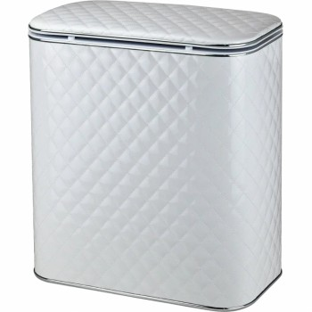 Корзина для белья Cameya Стеганая WHC-M-9 с микролифтом средняя Белая, кант хром