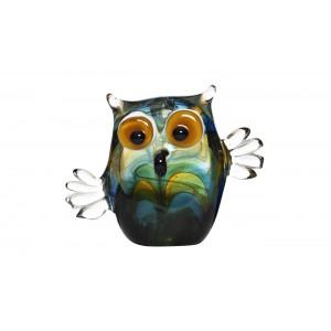 Фигурка стеклянная «Сова» сине-зелёная F6013