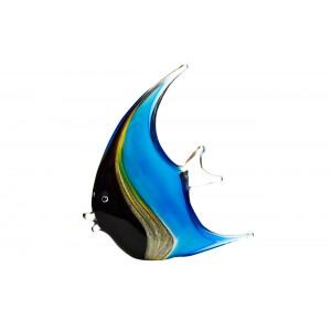 Статуэтка стеклянная «Рыба» сине-черная F6104