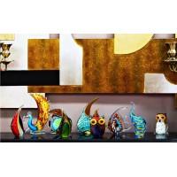 Статуэтка стеклянная «Павлин» янтарная F6424