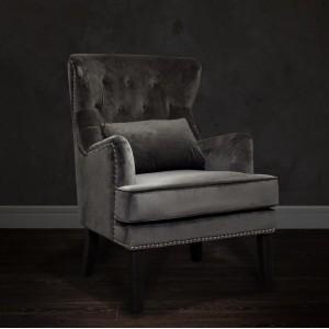 Кресло велюровое серое (с подушкой) 24YJ-7004-06437/1