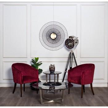 Кресло красное стеганое велюровое FC-32RE