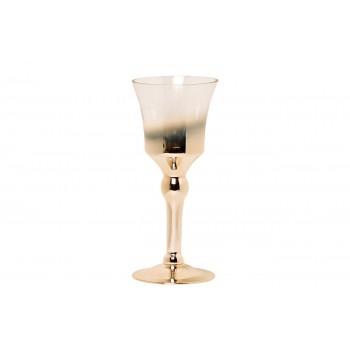 Подсвечник стеклянный прозрачный с розовым золотом 35BB-1030CG