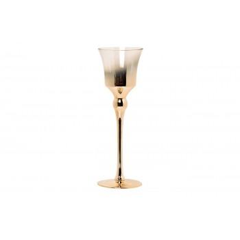 Подсвечник стеклянный прозрачный с розовым золотом 35BB-1040CG