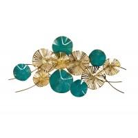 Декор настенный «Цветы» золотисто-бирюзовый 37SM-1111