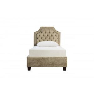 Кровать односпальная бежевая бархатная N-BS2022-90BG