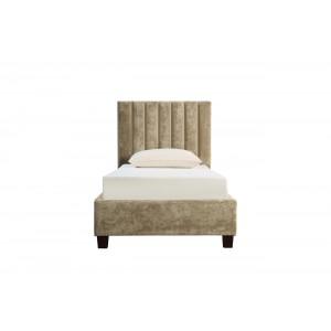Кровать односпальная бархатная бежевая N-B1743-90BG