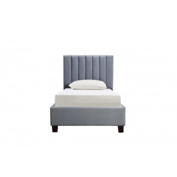 Кровать односпальная велюровая серая N-B1743-90GR