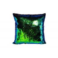Подушка декоративная с пайетками (сине-зеленая) 28ML-P00114