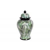 Ваза керамическая с крышкой бело-зеленая (принт «Листья) 55RD3112S
