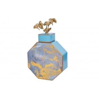 Ваза керамическая с крышкой (голубая с золотом) 55RD3570L