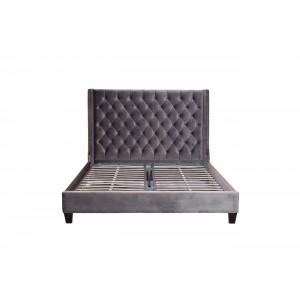Кровать двуспальная с высоким изголовьем (серая) DY-1250/2