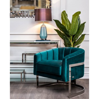 Кресло на металлическом каркасе сине-зеленое ZW-777 GRN SS
