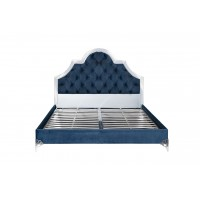 Кровать двуспальная с зеркальными вставками (синяя) KFC1096-66