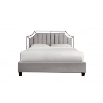 Кровать двуспальная с зеркальными вставками серая N-BD1894V GR