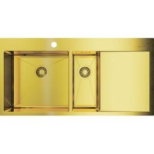 Кухонная мойка светлое золото Omoikiri Akisame 100-2-LG-L