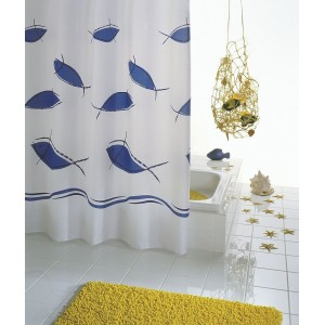 Штора для ванных комнат Fish синий/голубой 180*200 46343