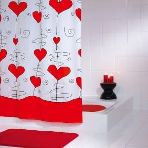 Штора для ванных комнат Valentine красный 180*200 47346