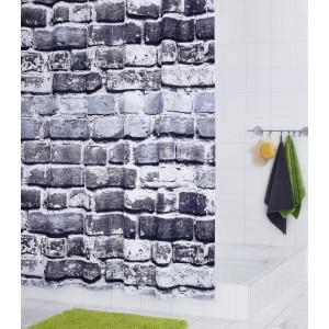Штора для ванных комнат Wall серый 180*200 4201317