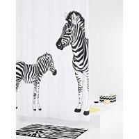Штора для ванных комнат Zebra белый/черный 180Х200  42311