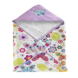 Полотенце банное с уголком детское Kassatex Bambini Hooded Butterflies BHD-BUT-MUL