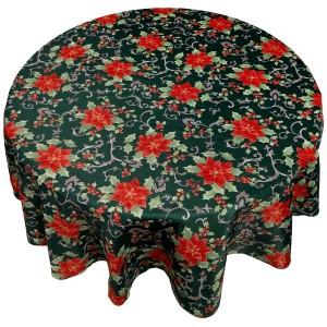 Кухонная скатерть круглая 178 см Carnation Home Fashions Poinsettia Floral XFAB-RD-PS